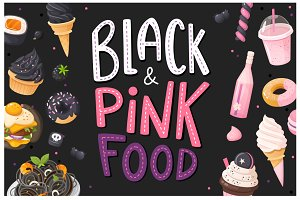 Black and pink food