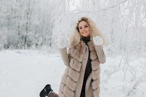 Image of happy blonde woman on walk