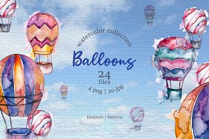 Balloons Watercolor blue png