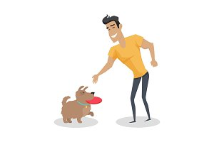 Playing with Pet Illustration in