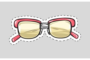 Classic Glasses Icon Patch Isolated