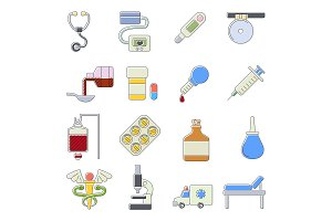 Medical icons set, cartoon outine
