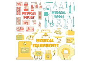 Medical tools equipment icons set