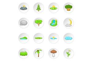 Nature landscape icons set, cartoon