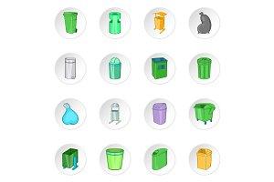 Trash can icons set, cartoon style