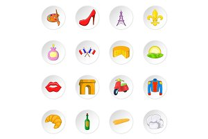 Paris icons set, cartoon style