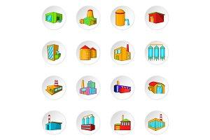 Factory, plant icons set, cartoon