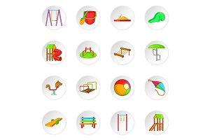Children playground icons set