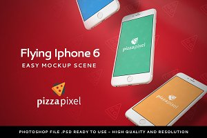 Mockup Iphone 6 Flying Scene (NEW)
