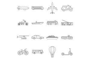 Transportation icons set, outline
