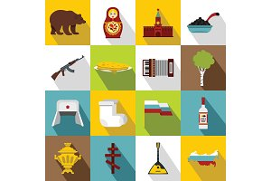 Russia icons set, flat style