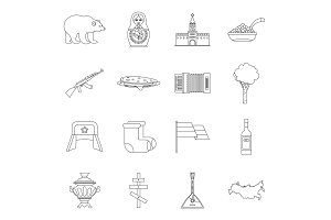 Russia icons set, outline style
