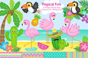 Tropical Flamingo Clipart & Paper