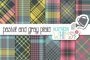 Pastel and Gray Plaid Patterns
