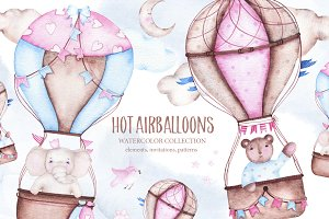 Hot airballoons watercolor clipart