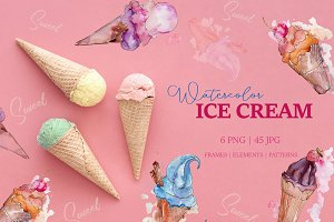 Appetizing ice cream Watercolor png