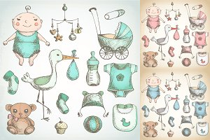 Baby shower. Hand drawn sketches.