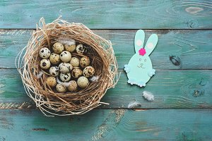 Quail eggs in a nest of straw and