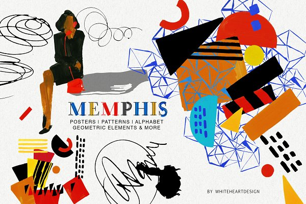 Illustrations: whiteheartdesign - Memphis Posters Patterns and Clipart
