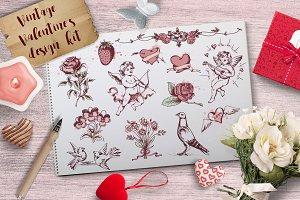 Vintage Hand Drawn Valentine Kit