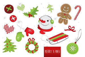 Happy holidays vector set