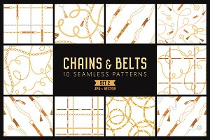 Chains & Belts Seamless Patterns