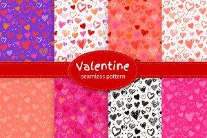 Valentine Hearts Seamless Patterns