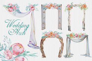 Watercolor Wedding Arches Clipart