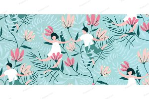 Seamless Pattern Love Couple vintage