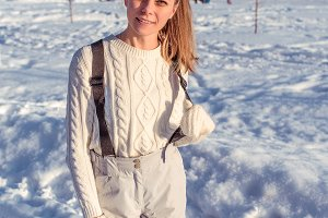 Beautiful young girl in a white