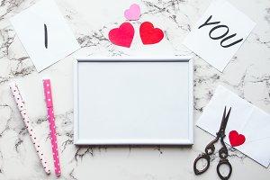 Valentnes Day white frame mockup