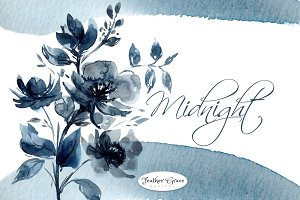 Indigo Blue Watercolor Flowers