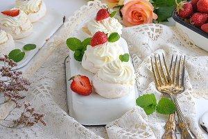 baked cakes of whipped egg