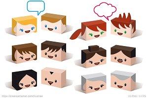 3D avatars, vector icon set