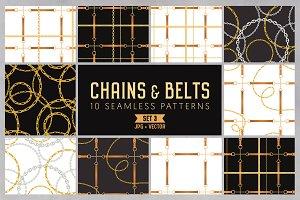 Chains & Belts Seamless Patterns