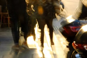 Couple at Parisian street. Blur.