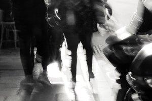 Paris urban blur. Couple.