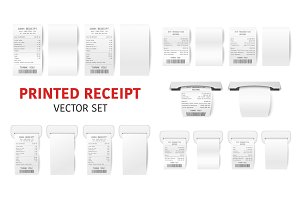 Paper Receipt Set - Cash, ATM.