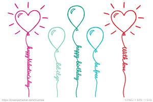 Heart Balloons, vector set