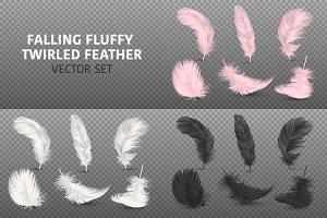 Falling Fluffy Twirled Feather.
