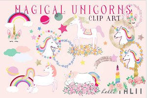 Magical Unicorns Clip Art