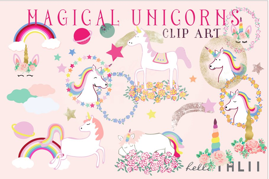 Unicorn magical. Unicorns clip art