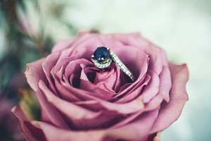 Sapphire Engagement Ring in Rose