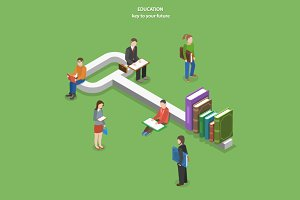 Education flat isometric concept