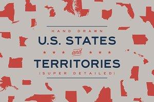 Hand Drawn U.S. States & Territories