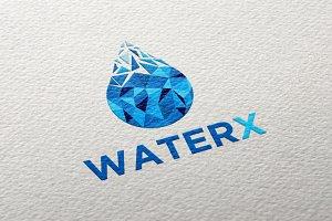 Water Drop Pixels Logo Template