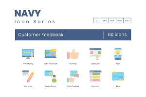 60 Customer Feedback Icons | Navy