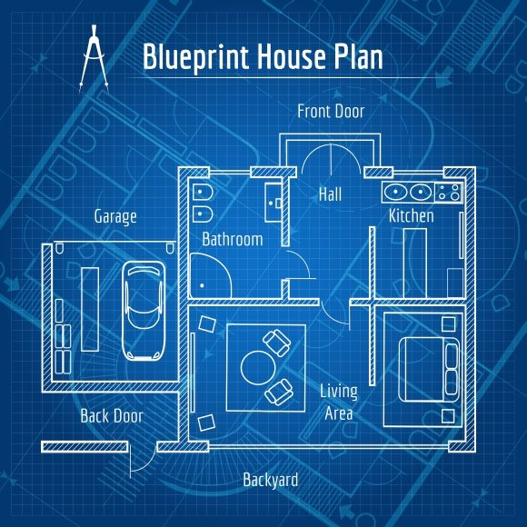 Blueprint house plan graphics creative market blueprint house plan graphics malvernweather Gallery
