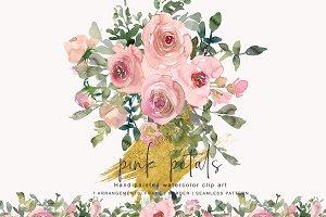 Watercolor Blush Rose Clipart