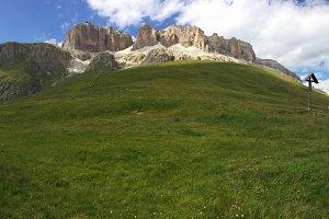 Mountain panorama from passo Pordoi